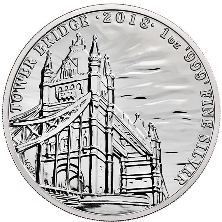 "Stiebrná minca Anglicko ""Tower Bridge""  2018  1 Oz"