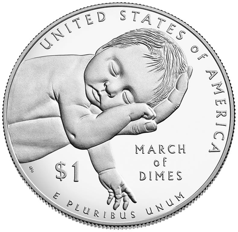 1 Dollar Stříbrná mince March of Dimes PP